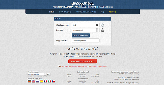 ᐅ Tempr email · Best Temporary email address, Temp Mail, Fake email